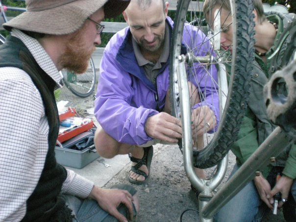 doug, ben and yarrow checking wheel allignment